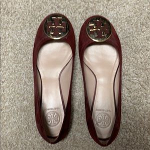 Tory Burch Velvet Flat Wine Colored